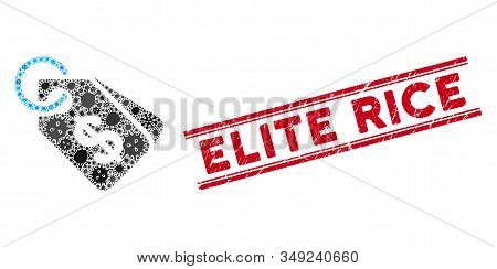 Infectious Mosaic Price Tags Icon And Red Elite Rice Watermark Between Double Parallel Lines. Mosaic