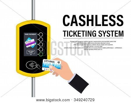 Hand With City Pass Pays The Fare. Terminal For Passenger Transport Card. Wireless, Contactless Or C