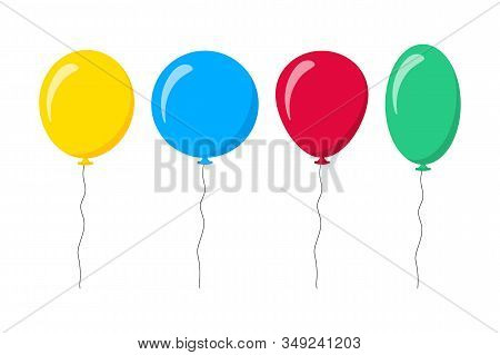 Balloons Isolated Icon On White Background. Decoration For Holidays And Birthday Party. Vector Set H
