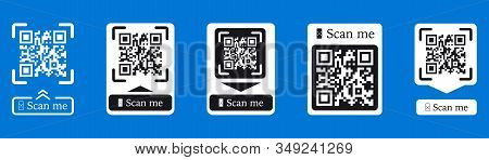 Qr Code Scan For Smartphone. Inscription Scan Me With Smartphone Icon. Qr Code For Payment. Inscript