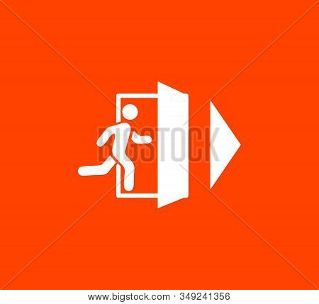 Exit Sign. Emergency Exit. Man Figure Running To Doorway. Plate Fire Exit