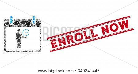 Viral Collage Time Manager Calendar Day Icon And Red Enroll Now Seal Stamp Between Double Parallel L