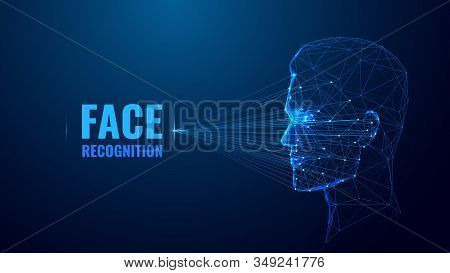 Face Recognition Low Poly Wireframe Banner Vector Template. Futuristic Computer Technology, Smart Id