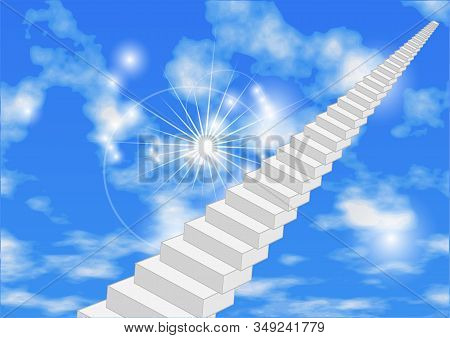 Abstract Stair In Sky. Gray Stairway To The Light