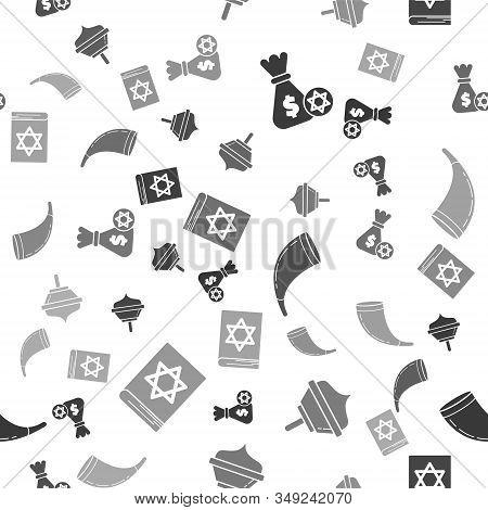 Set Jewish Money Bag With Star Of David And Coin, Hanukkah Dreidel, Traditional Ram Horn, Shofar And