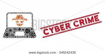 Biohazard Mosaic Cyber Crime Icon And Red Cyber Crime Stamp Between Double Parallel Lines. Mosaic Ve