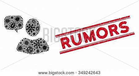 Flu Mosaic User Opinion Icon And Red Rumors Seal Stamp Between Double Parallel Lines. Mosaic Vector