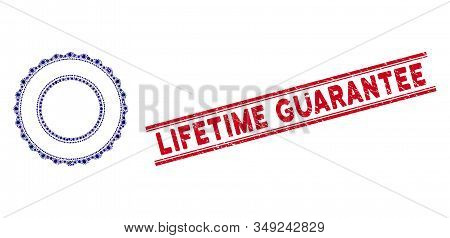 Pathogen Mosaic Double Rosette Circular Frame Icon And Red Lifetime Guarantee Stamp Between Double P