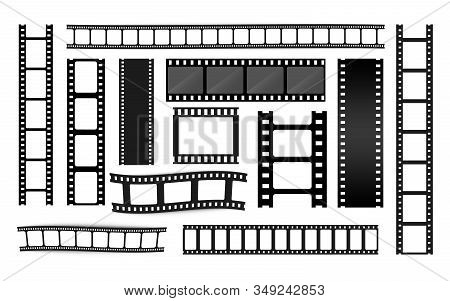 Different Film Strip Collection. Old Retro Cinema Strips. Photo Frame. Cinema Strip Templates. Negat