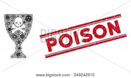 Infectious Mosaic Poison Cup Icon And Red Poison Seal Stamp Between Double Parallel Lines. Mosaic Ve