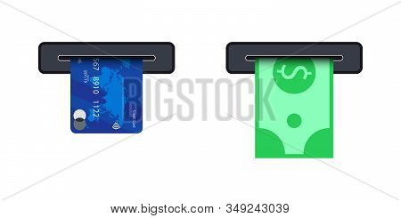 Money From Atm Slot. Atm Terminal Usage Concept. Pushing Credit Card In To The Atm Machine Slot And