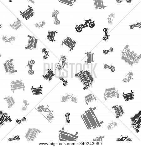 Set All Terrain Vehicle Or Atv Motorcycle, Pickup Truck, Off Road Car And Bicycle On Seamless Patter