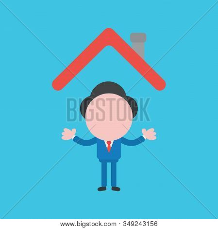 Vector Cartoon Illustration Concept Of Faceless Businessman Mascot Character Under House Roof On Blu