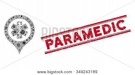 Contagious Mosaic Emergency Map Marker Icon And Red Paramedic Watermark Between Double Parallel Line