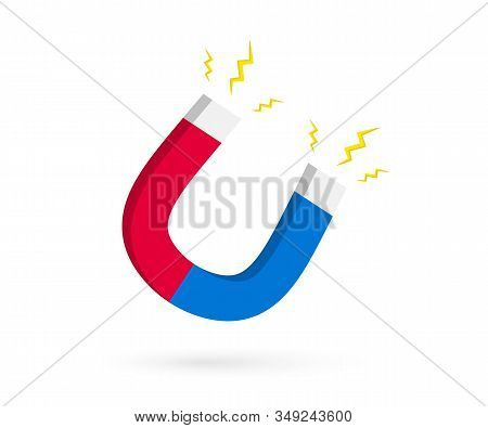 Magnet With Lightning. Horseshoe Magnet With Magnetic Power. Magnetism, Magnetize, Attraction Concep
