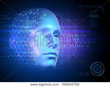 Human face merged with a futuristic computer interface. 3D illustration.