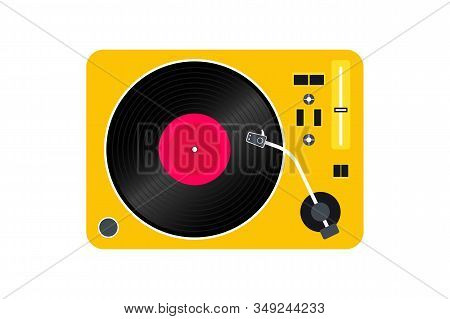 Vinyl Record Player. Player For Vinyl Record. Retro Design. Front View. Vinyl Record Disc