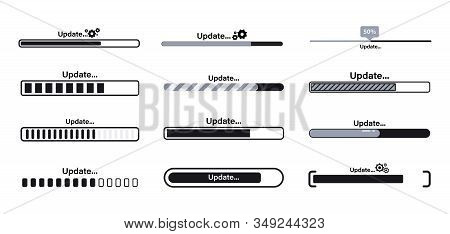 Download, Update And Upgrade System Bar Or Indicators. Upgrade Application Progress Icon For Graphic