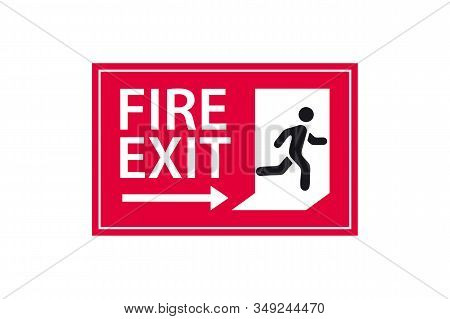 Exit Sign. Emergency Fire Exit Sign. Man Figure Running To Doorway. Running Man Icon To Door. Fire E