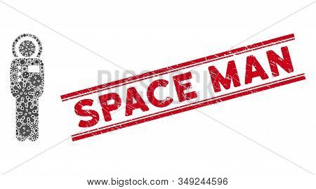 Pathogen Mosaic Cosmonaut Icon And Red Space Man Seal Stamp Between Double Parallel Lines. Mosaic Ve