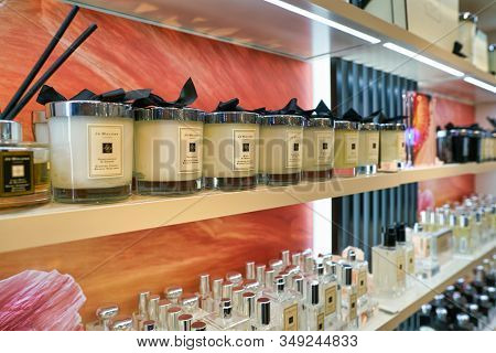 BERLIN, GERMANY - CIRCA SEPTEMBER, 2019: Jo Malone scented candles on display at Galeries Lafayette in Berlin.