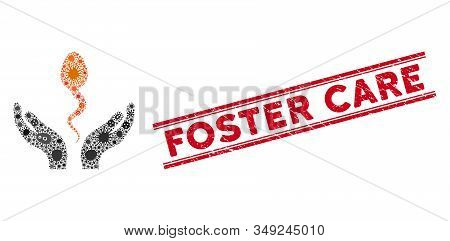 Contagion Mosaic Sperm Care Hands Icon And Red Foster Care Seal Between Double Parallel Lines. Mosai