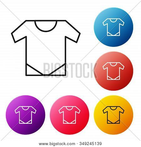 Black Line Baby Onesie Icon Isolated On White Background. Baby Clothes Symbol. Kid Wear Sign. Set Ic