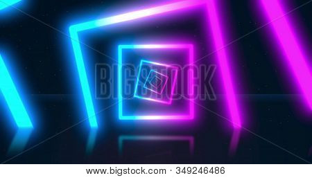 Abstract Neon Flying Geometric Tunnel With Fluorescent Ultraviolet Light. Background. Virtual Realit