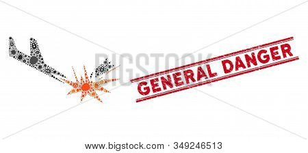 Contagion Mosaic Aircraft Bomb Explosion Icon And Red General Danger Seal Stamp Between Double Paral