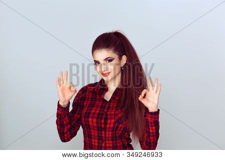 Everything Will Be Okay, Alright. Excited Happy Young Optimistic Woman Giving Ok Sign Gesture With T