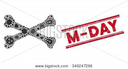 Epidemic Mosaic Bones Icon And Red M-day Seal Between Double Parallel Lines. Mosaic Vector Is Create