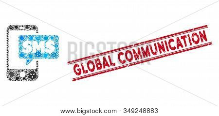 Contagion Collage Phone Sms Icon And Red Global Communication Seal Stamp Between Double Parallel Lin