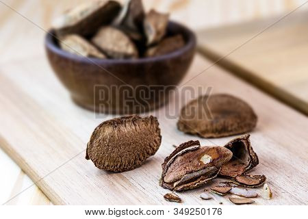 Brazil Nut, With Shell. Culinary Ingredient From Brazil.