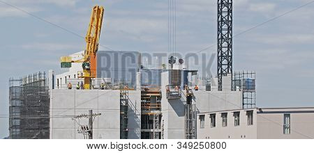 Gosford, New South Wales, Australia - October 15, 2019: Construction Work On Progress New Building S
