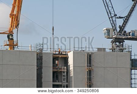 Gosford, New South Wales, Australia - December 17, 2019: Construction Work On New Building Site.the