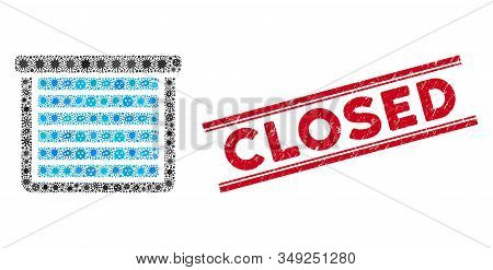 Contagious Mosaic Garage Closed Icon And Red Closed Watermark Between Double Parallel Lines. Mosaic