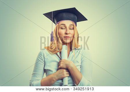 Portrait Closeup Beautiful Smile Happy Ecstatic Graduate Graduated Student Girl Young Woman Eyes Clo