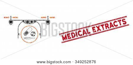 Outbreak Mosaic Medication Quadcopter Icon And Red Medical Extracts Seal Between Double Parallel Lin