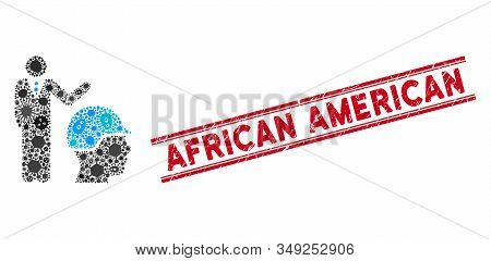 Contagion Mosaic Builder Management Icon And Red African American Seal Stamp Between Double Parallel