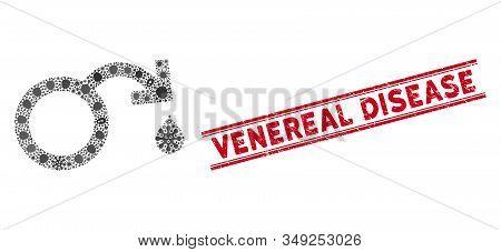 Viral Mosaic Venereal Disease Impotence Icon And Red Venereal Disease Seal Stamp Between Double Para
