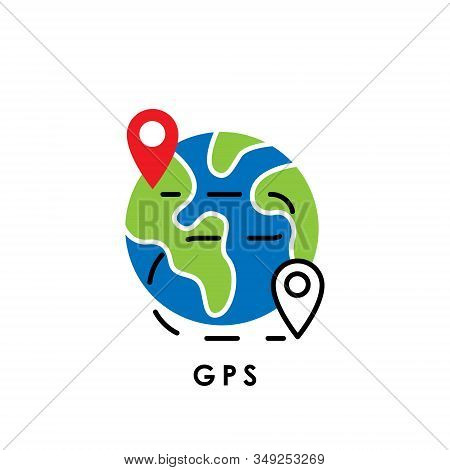 GPS. Global Positioning System. GPS icon. GPS vector. GPS icon vector. GPS logo. GPS symbol. GPS sign. GPS web icon. GPS Navigation. GPS icon isolated flat on white background. Trendy GPS icon design for logo, web, app, UI.