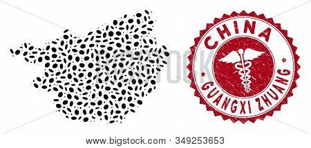 Vector Collage Guangxi Zhuang Region Map And Red Round Corroded Stamp Watermark With Medical Icon. G