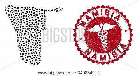 Vector Collage Namibia Map And Red Round Corroded Stamp Watermark With Caduceus Icon. Namibia Map Co