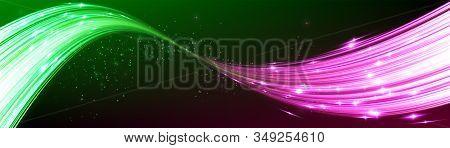 Power Energy. Futuristic Flash. Green Energy. Neon Lines. Glow Effect. Beautiful Light. Glint Cosmic