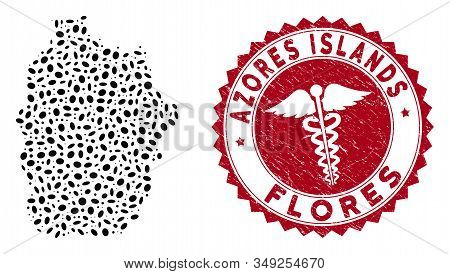 Vector Collage Flores Island Of Azores Map And Red Rounded Corroded Stamp Watermark With Health Care