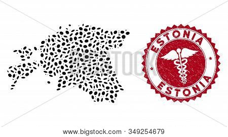 Vector Collage Estonia Map And Red Round Grunge Stamp Seal With Medic Sign. Estonia Map Collage Cons