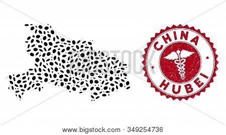 Vector Collage Hubei Province Map And Red Round Rubber Stamp Watermark With Caduceus Icon. Hubei Pro