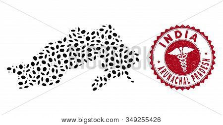 Vector Mosaic Arunachal Pradesh State Map And Red Rounded Rubber Stamp Watermark With Medic Sign. Ar