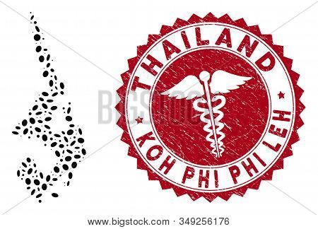 Vector Collage Koh Phi Leh Map And Red Rounded Grunge Stamp Watermark With Medicine Icon. Koh Phi Le