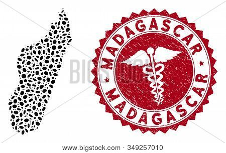 Vector Collage Madagascar Island Map And Red Rounded Distressed Stamp Seal With Medic Icon. Madagasc